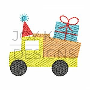 Dump truck with gift and party hat machine embroidery design