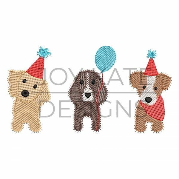Three in a row light sketch fill birthday party dogs embroidery design