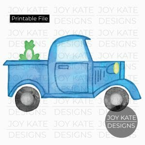 Blue Truck with Frog Watercolor PNG image Printable digital file for HTV, sublimation, paper goods, scrapbooking, and more