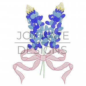 Texas bluebonnet bouquet with vintage bow sketch embroidery design