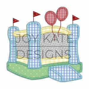 Inflatable bounce house applique design for machine embroidery