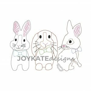 Quick Bean Stitch Easter Rabbits with Bow Ties