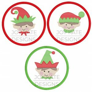 Boy elf face Christmas ornament embroidery design