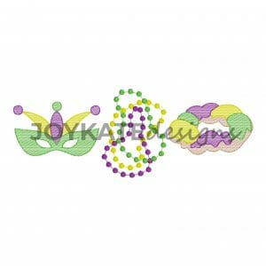 Bean Stitch and Light Fill Beads, King Cake, and Mask