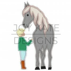 Boy with Horse Applique Design for Machine Embroidery