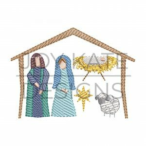 Set of 6 Christmas Sketch Nativity Embroidery Designs