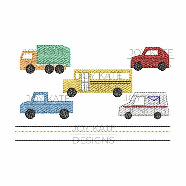Set of 5 Mini Sketch Fill City Vehicle Designs for Machine Embroidery includes garbage truck, mail truck, school bus, car, truck, and road