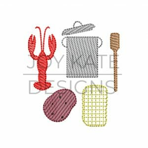 Set of 5 Mini Sketch Fill Crawfish Boil Machine Embroidery Designs