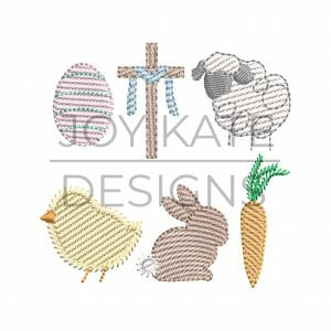 Set of 6 Mini Sketch Stitch Easter Embroidery Designs