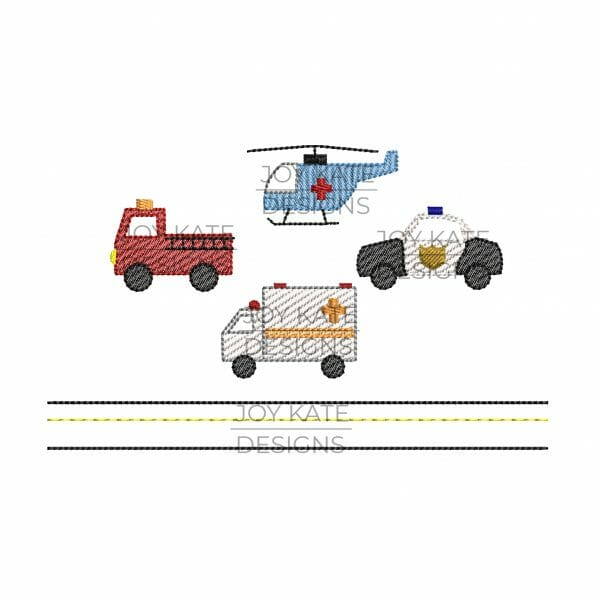 Set of 4 Mini Sketch Fill Emergency Vehicle Designs for Machine Embroidery includes fire truck, police car, ambulance, helicopter