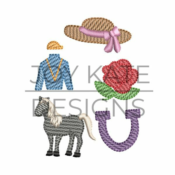 Set of 5 Mini Sketch Fill Horse Race Machine Embroidery Designs