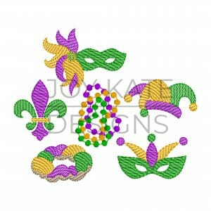 Set of 6 Mardi Gras Sketch Mini Embroidery Designs
