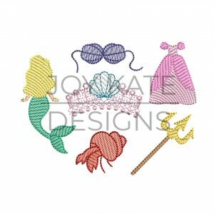 Set of 6 Mini Sketch Fill Mermaid Princess Machine Embroidery Designs