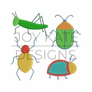 Mini bug set of 4 for Machine Embroidery