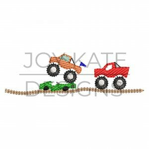 Set of 3 Mini Low Density/Light Fill Monster Truck Designs for Machine Embroidery