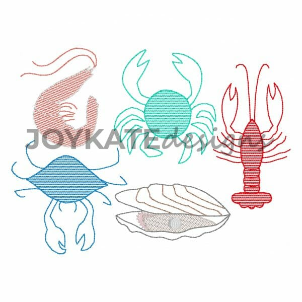 Vintage Light Fill and Bean Stitch Shellfish Design for Machine Embroidery