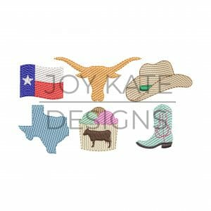 Set of 6 Mini Sketch Fill Texas Machine Embroidery Designs