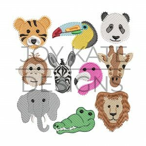 Set of 10 Mini Sketch Fill Zoo Animal Machine Embroidery Designs