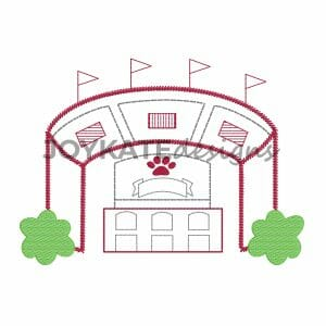 Maroon and Gray Football Stadium with Bulldog Pawprint Machine Embroidery Design