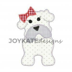 Vintage Blanket Stitch Girl Bulldog Applique Design for Machine Embroidery