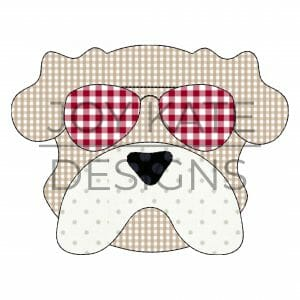 Vintage Bulldog Face with Sunglasses Applique Design for Machine Embroidery