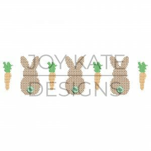 Bunnies and Carrots Cross Stitch Machine Embroidery Design