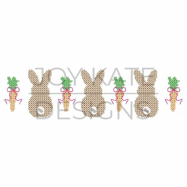 Bunnies and Carrots with Bows Cross Stitch Machine Embroidery Design