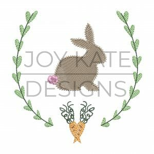 Bunny and carrots sketch fill wreath frame embroidery design