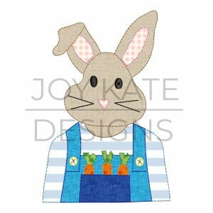 Bean Stitch Easter Bunny with Overalls and Carrots Applique Design for Machine Embroidery