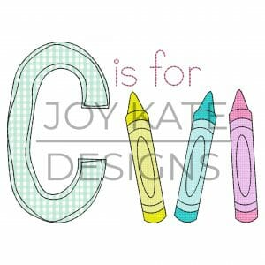 Back to School Crayons Applique Design for Machine Embroidery
