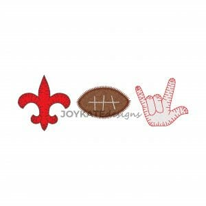 Louisiana Football Three in a Row Applique Design for Machine Embroidery