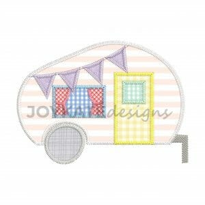 Vintage Style Camper Applique Design for Machine Embroidery