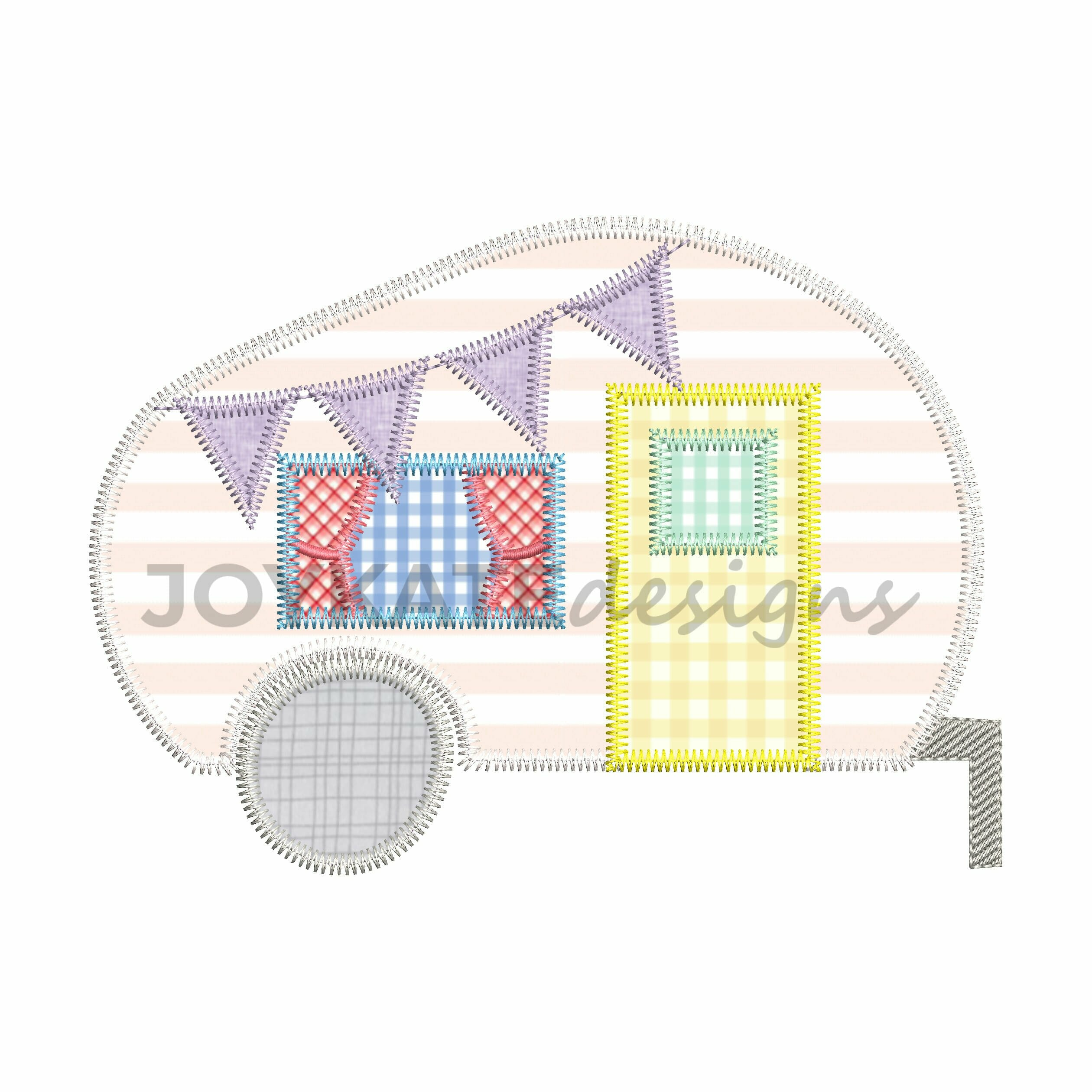 Camper Zigzag Stitch Applique Embroidery Design Joy Kate Designs