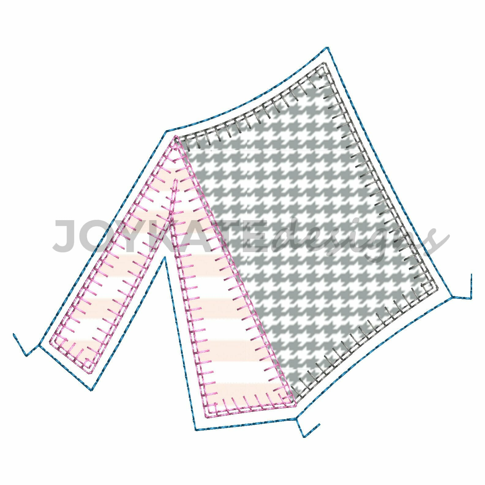 Camping Tent Blanket Stitch Applique Embroidery Design