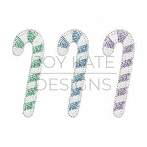 Blanket Stitch Candy Cane Trio Applique Design for Machine Embroidery