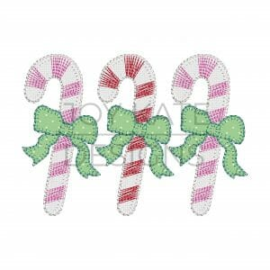 Blanket Stitch Candy Cane Trio with Bows Applique Design for Machine Embroidery