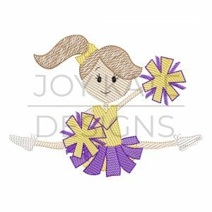 Cheerleader doing toe touch sketch design for machine embroidery