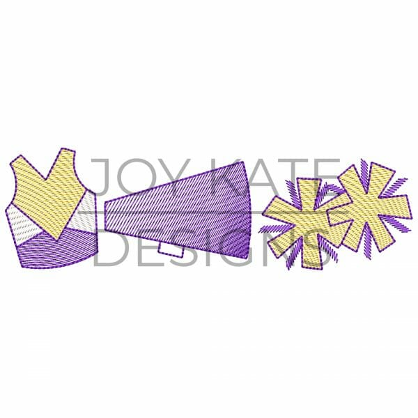 Sketch Three in a Row Cheerleader Embroidery Design