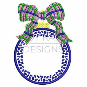 Chinoiserie Ornament with Plaid Bow Machine Embroidery Design