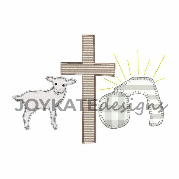Lamb, Cross, and Empty Tomb. Zigzag, Bean, and Blanket Stitch Applique'. Jesus Machine Embroidery Design.