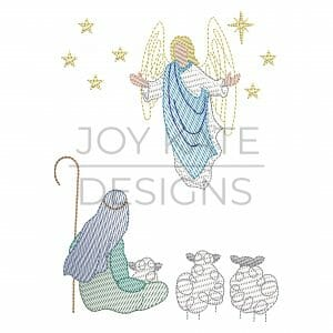 Vintage sketch Christian Christmas machine embroidery design includes a shepherd, sheep, angel, and stars