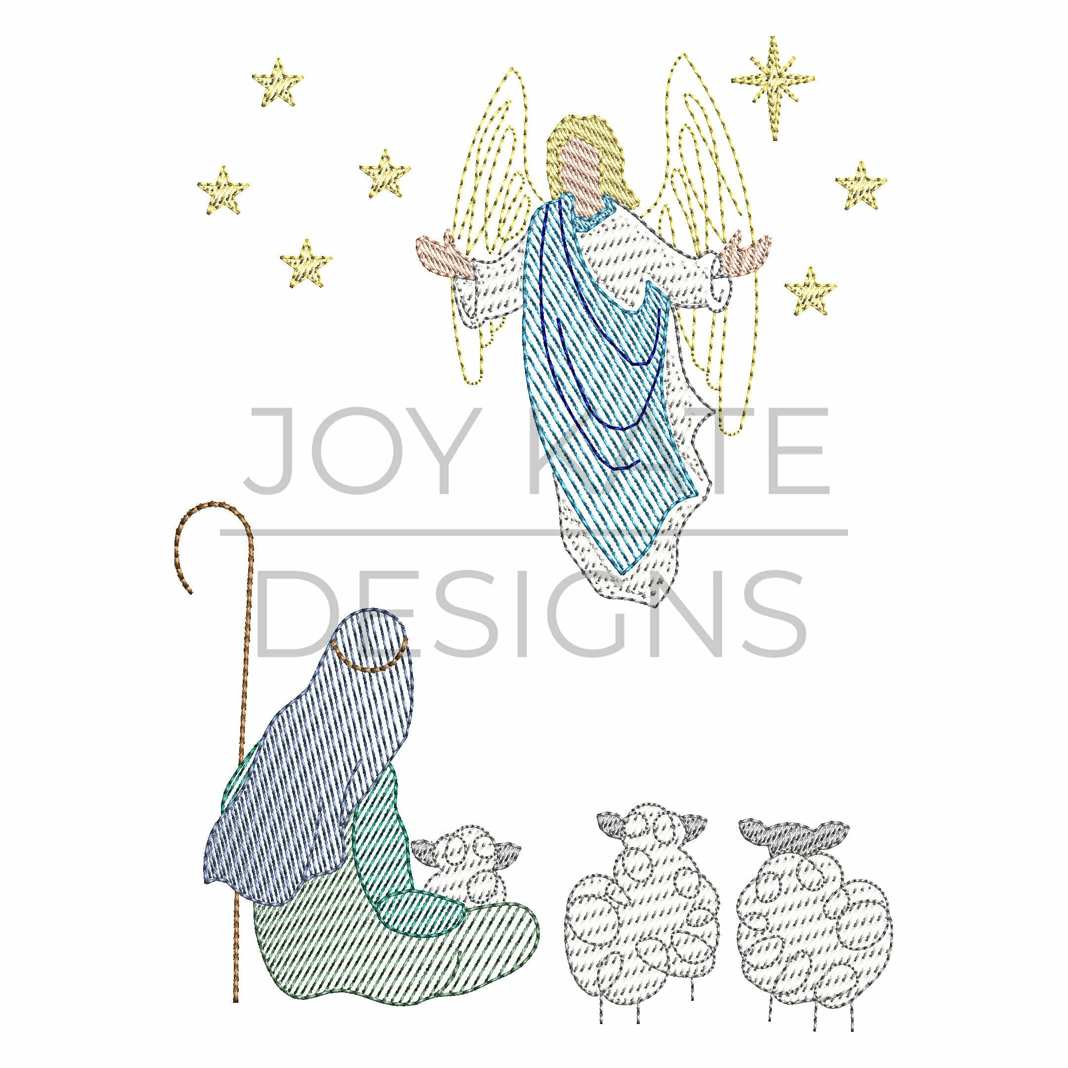 vintage sketch christian christmas machine embroidery design includes a shepherd sheep angel and - A Christmas Angel