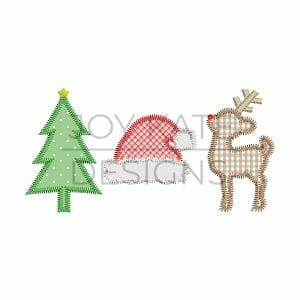 Christmas applique design for machine embroidery includes a Christmas tree, santa hat, and Rudolph reindeer with zigzag stitch finish