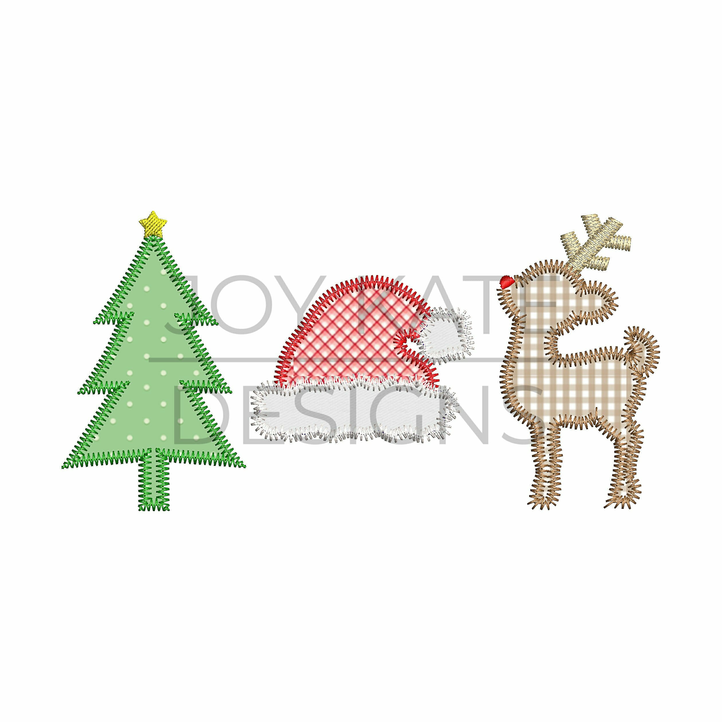 christmas applique design for machine embroidery includes a christmas tree santa hat and rudolph - Christmas Applique Designs