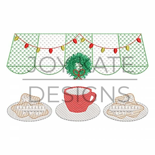 Sketch Christmas New Orleans Beignets Embroidery Design