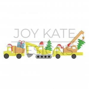 Christmas Construction Trio Light Fill/Low Density Embroidery Design