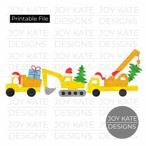 Christmas construction vehicles watercolor PNG clipart image