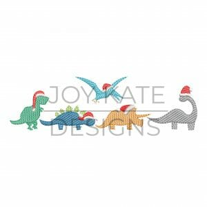 Row of four light sketch fill Christmas dinosaurs embroidery design