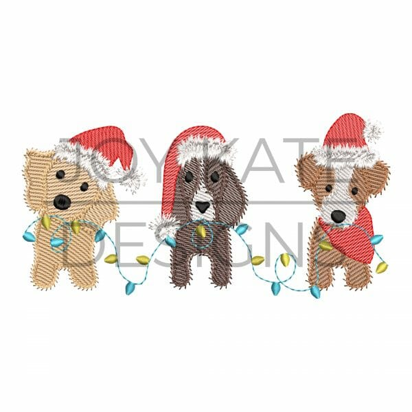 Sketch Christmas Puppy Dogs with Santa Hats Embroidery Design