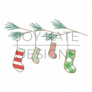 Vintage stitch Christmas stockings embroidery design